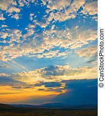 tramonto, cielo, fondo