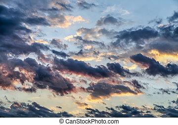tramonto, colori, sopra