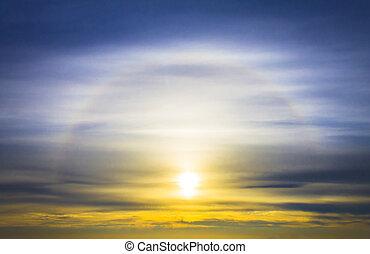 tramonto, colorito, nubi, alba