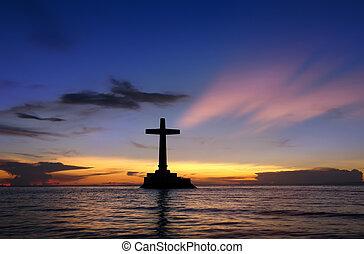 tramonto, con, croce