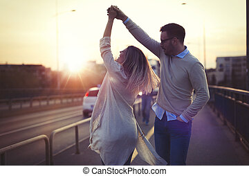 tramonto, coppia, felice, amore, ballo