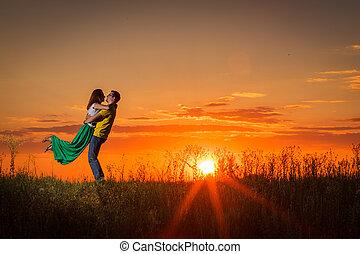 tramonto, coppia, silhouette