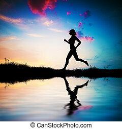 tramonto, correndo, donna, silhouette