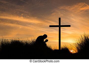 tramonto, croce, preghiera