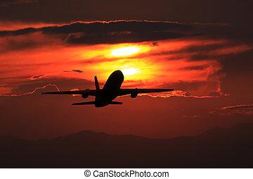 tramonto, decollo
