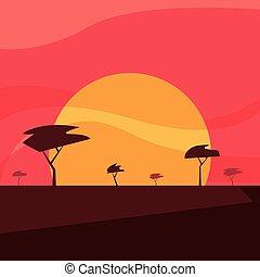 tramonto, disegno, paesaggio