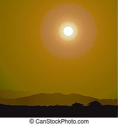 tramonto, e, montagne