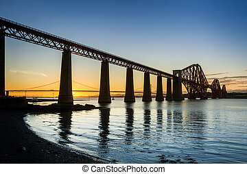 tramonto, fra, il, due, ponti, in, queensferry