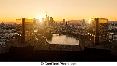 tramonto, francoforte, vista