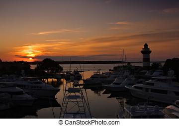 tramonto, in, hilton, testa, marina, carolina sud