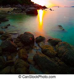tramonto, in, koh, lipe, tailandia