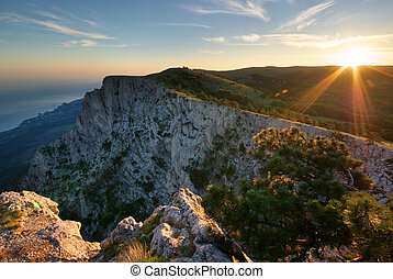 tramonto, in, mountain.