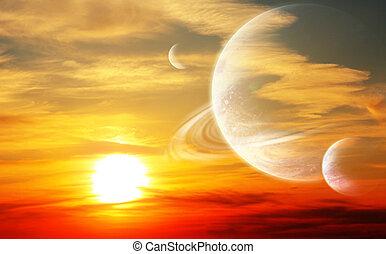 tramonto, in, straniero, pianeta