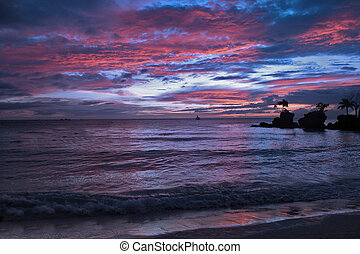 tramonto, in, tailandia, sabbia bianca, blu, cielo