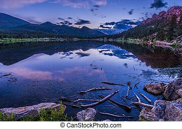 tramonto, lilly, -, colorado, lago