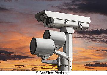 tramonto, macchina fotografica, traffico, cielo