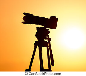 tramonto, macchina fotografica, silhouette, treppiede