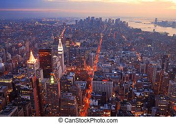 tramonto, manhattan, vista, orizzonte, aereo, panorama, città, york, nuovo
