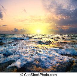 tramonto, mare