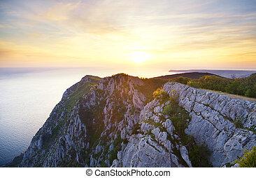 tramonto, montagne., hight