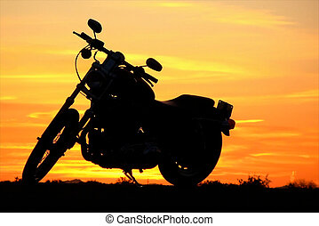 tramonto, motocicletta