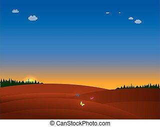 tramonto, natura