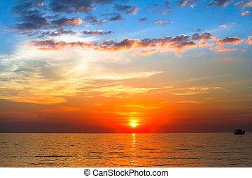 tramonto oceano, composizione, natura