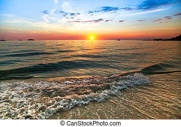 tramonto oceano, natura, composition.