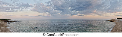 tramonto, paesaggio, con, costa, di, il, sea., panorama.