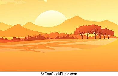 tramonto, paesaggio, fondo, natura