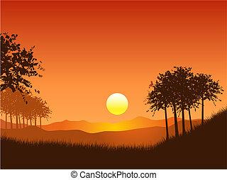 tramonto, paesaggio