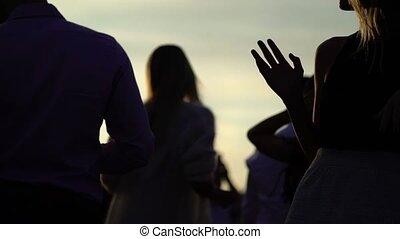 tramonto, Persone, gruppo, ballo