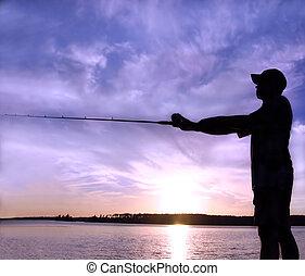 tramonto, pesca