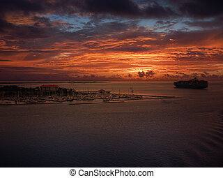 tramonto, porto, abbandono