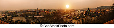 tramonto, praga, vecchia città, fiume vltava, e, ponti, panoranic, vista