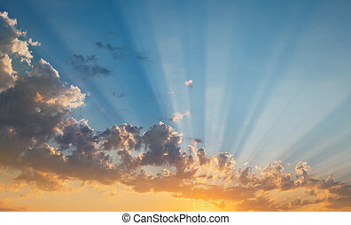 tramonto, raggi, cielo, sole