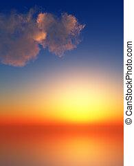 tramonto, raggi, in, cielo