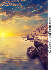 tramonto, rays., mare