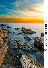 tramonto, riva, nero, roccioso, mare