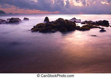tramonto rosso, a, payam, spiaggia