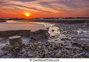tramonto rosso, a, spiaggia