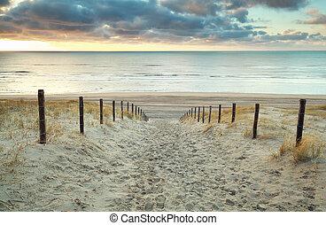 tramonto, sabbia, mare nord, percorso