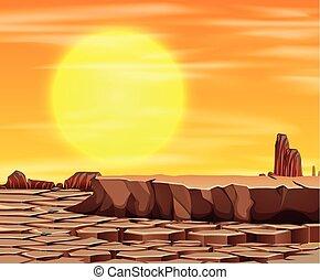 tramonto, scena, deserto