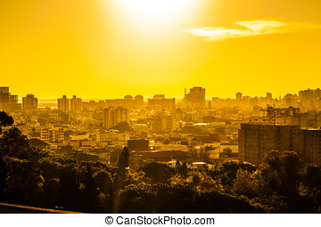 tramonto, scena urbana