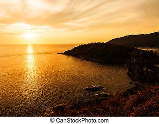 tramonto, silhouette, colorare