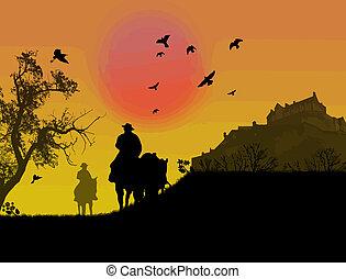 tramonto, silhouette, due, contro, cowboy