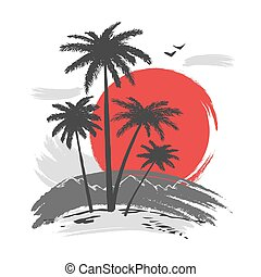tramonto, silhouette, palme