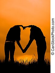 tramonto, silhouette, ragazze