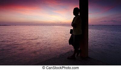 tramonto, silhouette, uomo