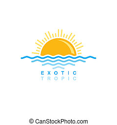 tramonto, simbolico, mare, onda